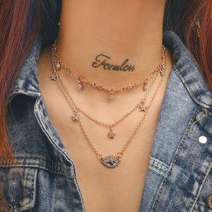 Gold Color Blue Gems Crystal Eye Pendant Necklace